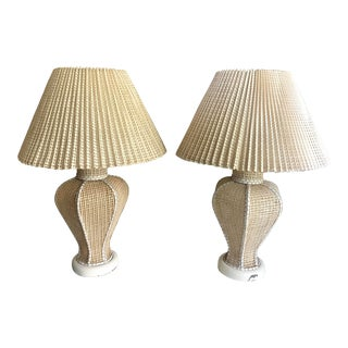 Antique Cane Lamps With Pleated Cane Shades - a Pair For Sale