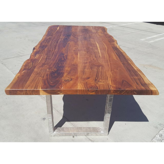 Acacia Wood Live Edge Dining Table - Image 7 of 8