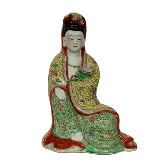 Chinese Antique Famille-Rose Porcelain Kwan Yin Statuary Statue