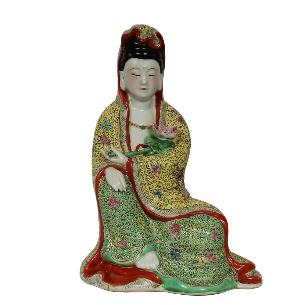 Chinese Antique Famille Rose Porcelain Kwan Yin Statuary Statue