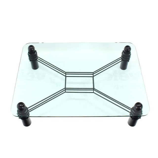 Mid Century Modern Large Thick Rectangular Glass Coffee Table Huge Massive For Image