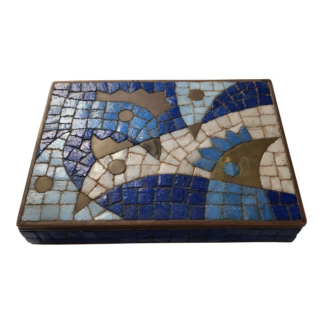 1960s Vintage Salvador Teran Mexican Modernist Brass and Glass Mosaic Box For Sale
