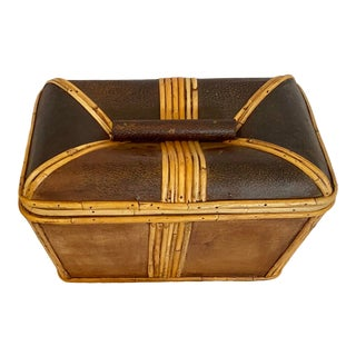 Vintage Bentwood Leather and Rattan Lidded Box For Sale