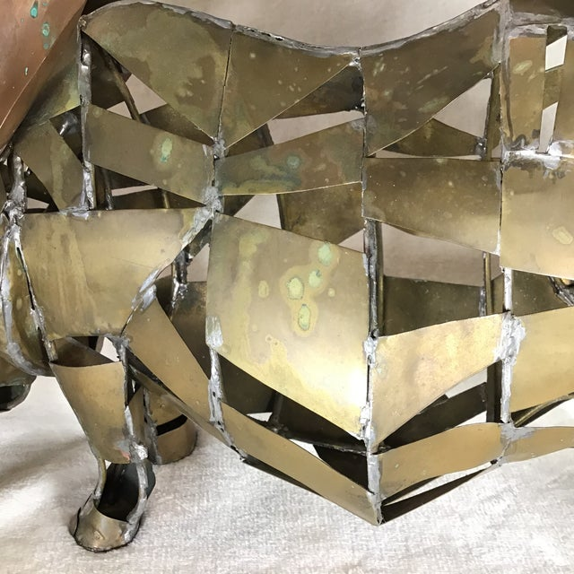 Vintage Mid-Century Brutalist Brass Copper Rhino Freestanding Sculpture For Sale - Image 10 of 11
