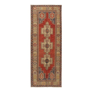 Vintage Turkish Oushak Runner Rug 3'9 X 9'10 For Sale