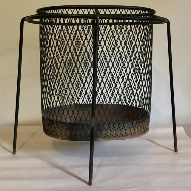 Industrial Mid-Century Maurice Duchin Iron Mesh Wastebasket For Sale - Image 3 of 7