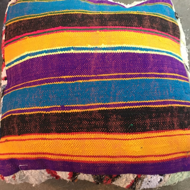 Multi Color Moroccan Floor Pouf For Sale - Image 4 of 4
