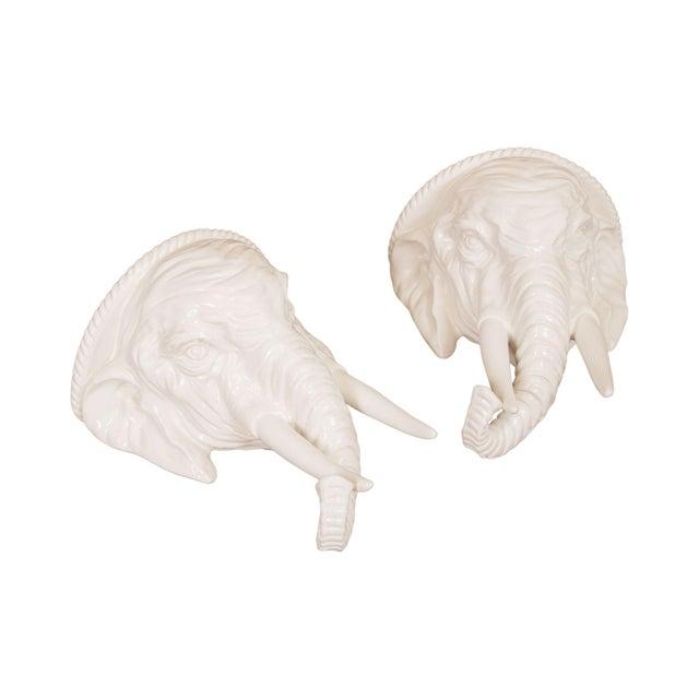 Hollywood Regency Vintage Italian Ceramic Pair White Elephant Wall Shelves For Sale - Image 13 of 13