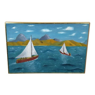 Primitive Signed Oil Painting of Sailboats on the Bay For Sale