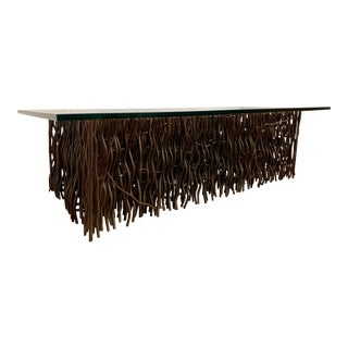 Modernist Sculpted Steel Rod Coffee Table For Sale