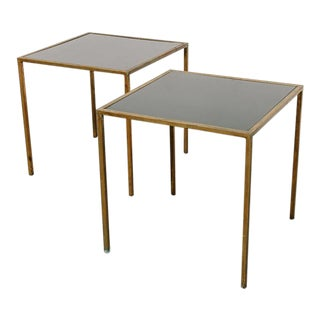 Pair of Modernist Brass + Black Glass End Tables For Sale
