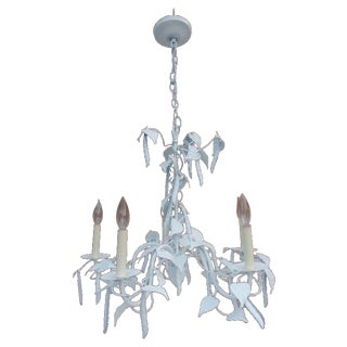 Hollywood Regency Faux Beans Palm Tree Chandelier For Sale