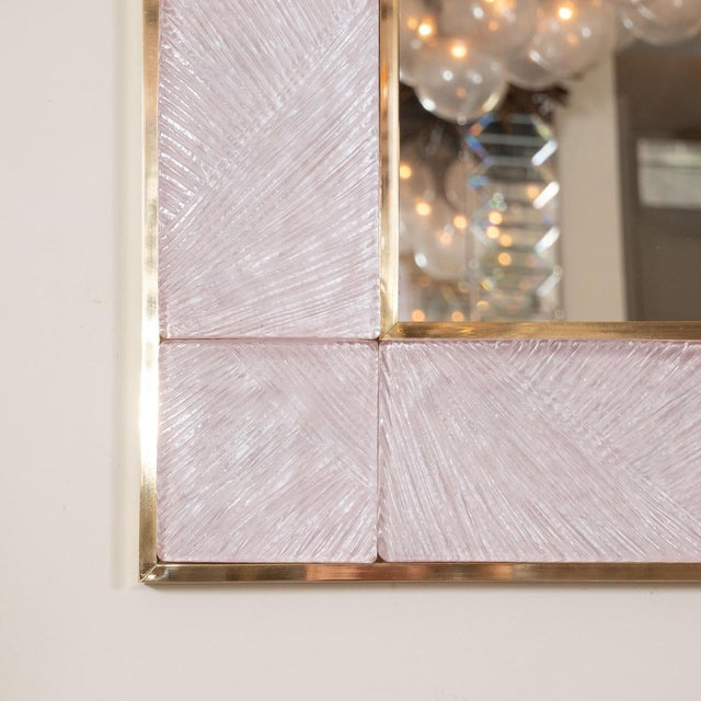 Pink Textured Glass Surround Mirror from Italy For Sale - Image 4 of 5