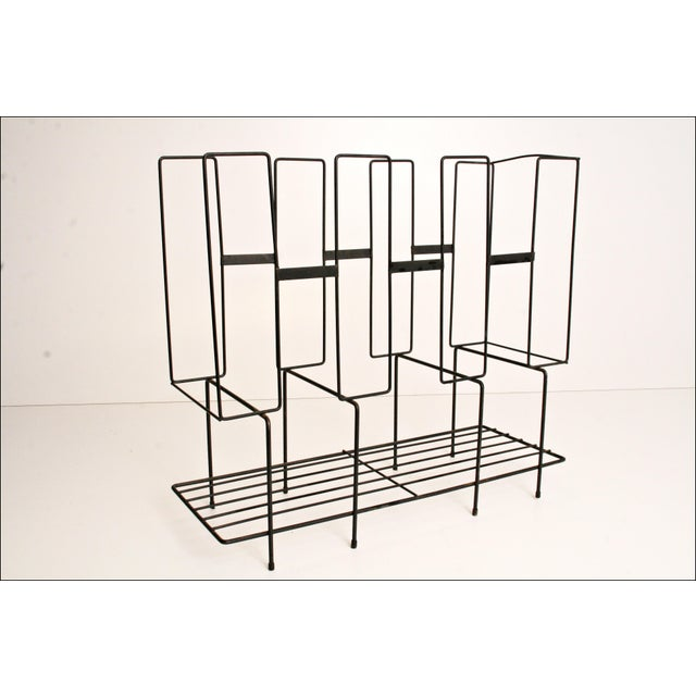 Mid-Century Modern Black Wire Record Rack For Sale - Image 10 of 11