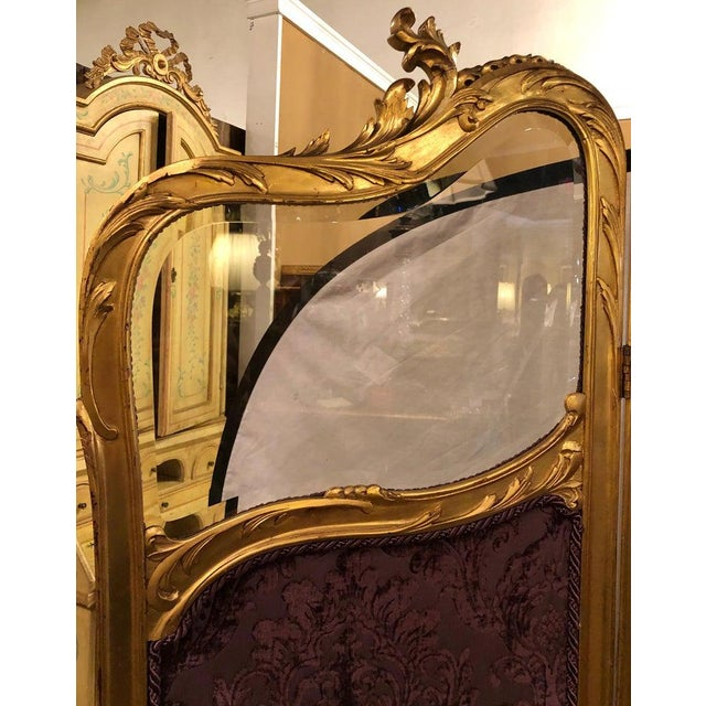 19th Century Louis Xv, Giltwood Three Fold Screen With Original Glass Panels For Sale - Image 11 of 13
