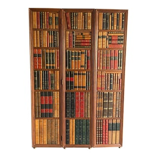 Vintage Leather Back Book Shelf Wood Room Divider For Sale