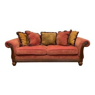 Bernhardt Custom Rolled Arm + Chenille Sofa For Sale