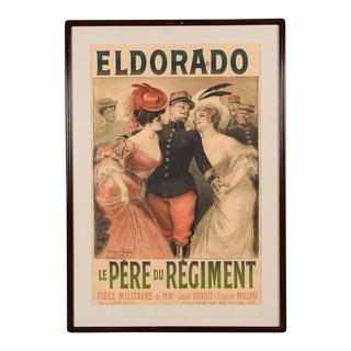 "1905 Vintage French Original ""Eldorado"" Framed Poster by Georges Redon For Sale"