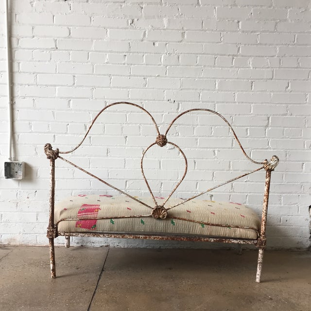 1990s Small Iron and Kantha Bench For Sale - Image 5 of 8