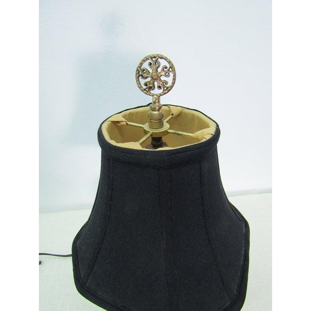 Vintage Enamel Satsuma Moriage Elephant Lamp With Shade For Sale - Image 4 of 7