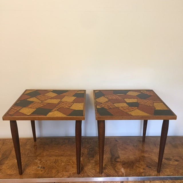 Pair of Mosaic Glass Top Side Tables by Jon Matin For Sale - Image 10 of 10