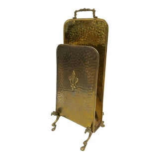 Vintage Belgian Brass Footed Fireplace Match Holder For Sale