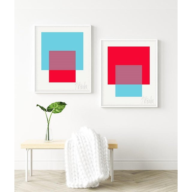 """The Interaction of Red and Turquoise"" by Liz Roache (Turquoise, Red) This Modern, Mid Century, Contemporary Fine Art..."