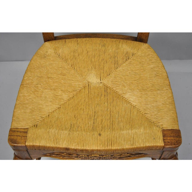 Bernhardt Country French Woven Rush Seat Oak Wood Ladder Back Dining Chair For Sale In Philadelphia - Image 6 of 13
