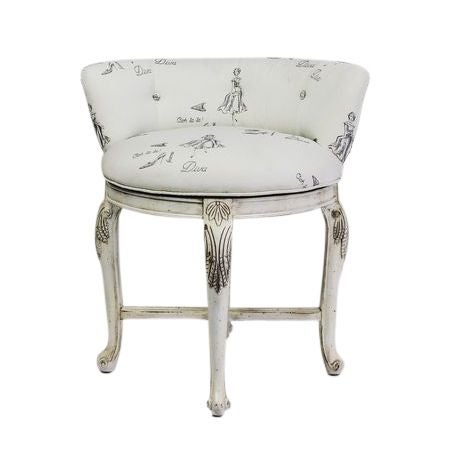 Vanity Chair in Diva Print Fabric For Sale