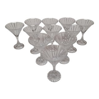MiKasa Park Lane Pattern Crystal Martini Glasses - Set of 10 For Sale