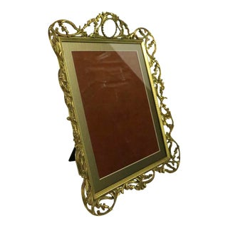 Decorative Ornate Reticulated Brass Easel Frame With Glass Jewel For Sale
