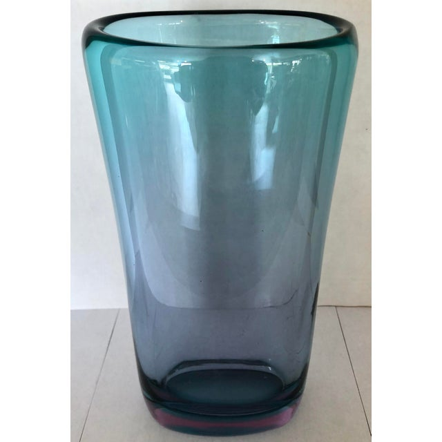 1990s Teal & Purple Thick Murano Glass Vase For Sale - Image 5 of 9