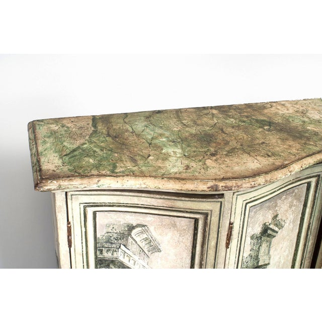 Late 18th Century Pair of Italian Neoclassical Grisaille Painted Commodes For Sale - Image 5 of 7