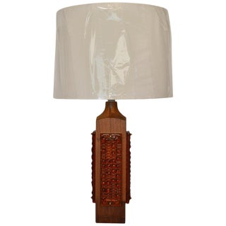 Mid Century Teak and Amber Glass Table Lamp For Sale