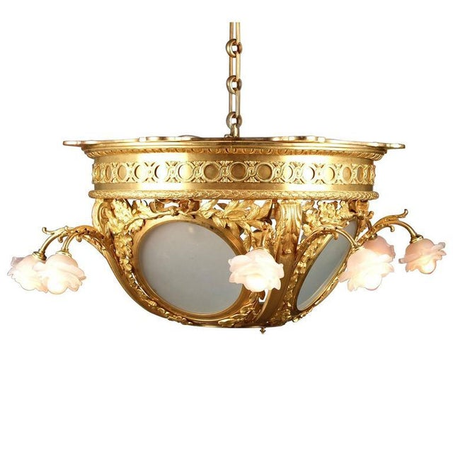 French Frosted Glass Dore Bronze Chandelier For Sale - Image 3 of 3