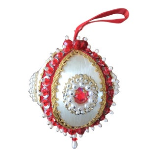 1950s Mid Century Beaded Fancy Christmas Ornament Red White Gold For Sale