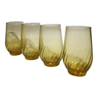 Libbey Glass Tiara (Gold) Tumblers - Set of 4 For Sale
