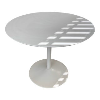 Modern Cb2 White Lacquered Round Dining Table For Sale