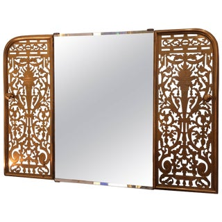 Clever Custom Mirror Made From Victorian Brass Fireplace Fender For Sale
