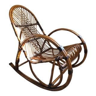 Vintage Franco Albini Style Rattan Rocking Chair