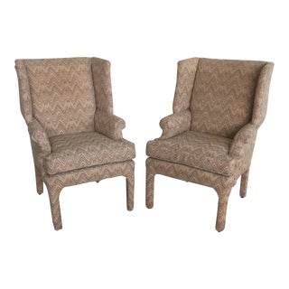 Century Furniture Parson Style Wing Chairs - A Pair For Sale