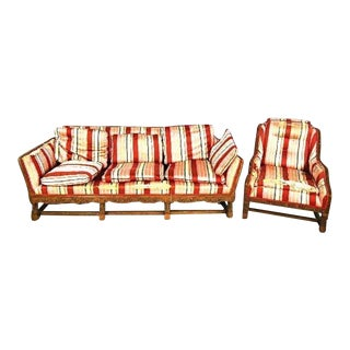 Vintage Art Deco Oak Sofa Bench & Armchair Set