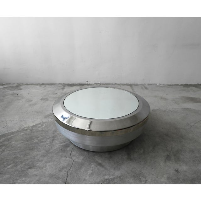 Mastercraft Round Aluminum Chrome and Mirror Drum Canister Coffee Table by Gj Neville For Sale - Image 4 of 10