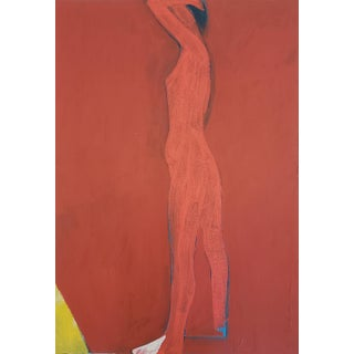 """Jamie Chase """"Figure in Red"""" Painting on Paper For Sale"""