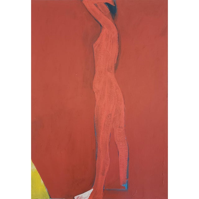 "Jamie Chase ""Figure in Red"" Painting on Paper For Sale"