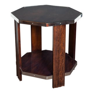 French Art Deco Octagonal Walnut Side Table With Nickeled Bronze Mounts For Sale