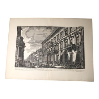 "Antique Architectural Lithograph After Piranesi, ""Veduta... Del Palazzo Dell'accademia"""