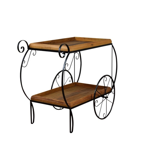 Rustic Bar Cart - Reclaimed Wood & Wrought Iron - Image 1 of 5
