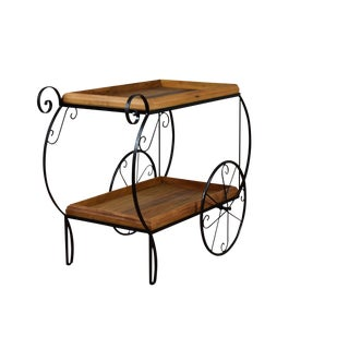 Rustic Reclaimed Peroba Rosa Wood & Wrought Iron Bar Cart