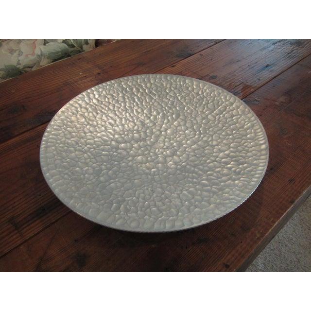 Mid Century Modern Hammered Aluminum Platter on Legs - Image 3 of 9